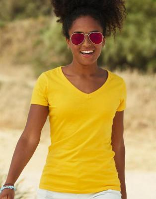 Fruit of the Loom Lady-Fit Valueweight V-neck T (129.01) 30f8be46c0
